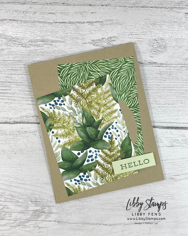 libbystamps, Stampin' Up!, Forever Fern, Forever Greenery DSP, Double Oval Punch, TSOT, Try Stampin' on Tuesday,