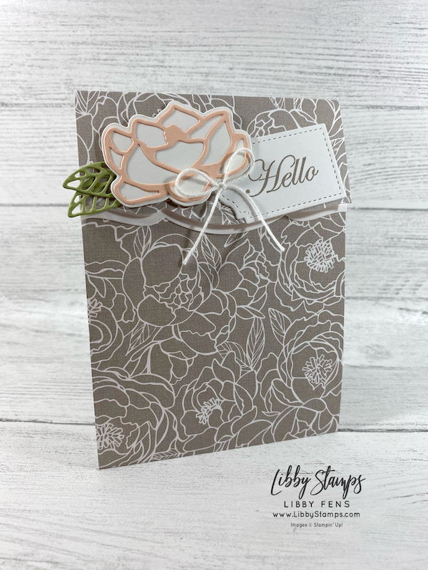 libbystamps, Stampin' Up!, Good Morning Magnolia, Magnolia Memory Dies, Trio of Tags Dies, Peony Garden DSP, Snail Mail Twine Combo Pack, TSOT, Try Stampin' on Tuesday, fun fold