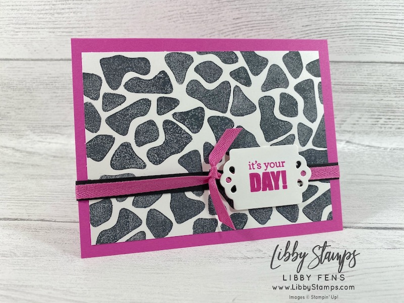 libbystamps, Stampin' Up!, Itty Bitty Birthdays, Butterfly Brilliance, Trio of Tags Dies, We Create, We Create Blog Hop, animal print