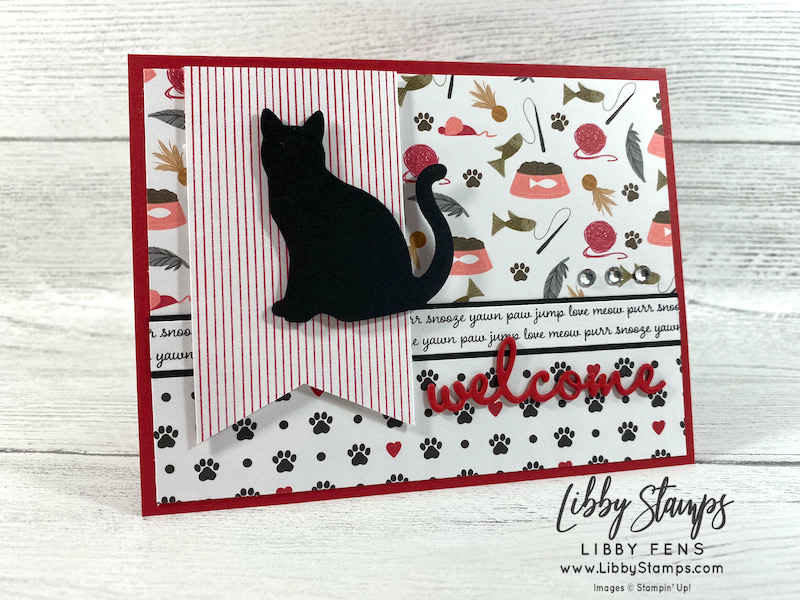 libbystamps, Stampin' Up!, Well Written Dies, Playful Pets DSP, Dog Builder Punch, Cat Punch, Rhinestone Basic Jewels, pet cards, Ink Stamp Share Blog Hop