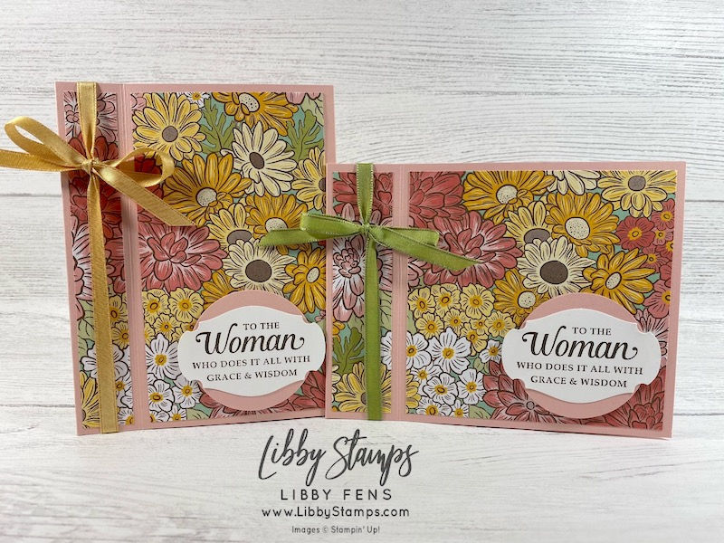 """libbystamps, Stampin' Up!, Strong & Beautiful, Ornate Garden DSP, Story Label Punch, 2"""" Circle Punch, Book Fold, Fun Fold, Fun Fold Fridays"""