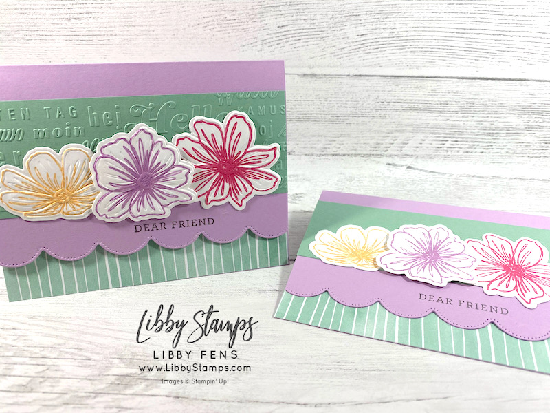 libbystamps, Stampin' Up, Art in Bloom, Art In Bloom Bundle, Bloom Hybrid Embossing Folder, Scalloped Contour Dies, Thanks & Hello EF, Hand-Penned DSP, CCM, Create with Connie and Mary, Create with Connie and Mary Saturday Blog Hop