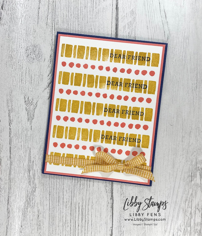 """libbystamps, Stampin' Up, Art in Bloom, Bumblebee 1/4"""" Gingham Ribbon, Stamparatus, hinge stamping, CCMC, Create with Connie and Mary Challenges"""