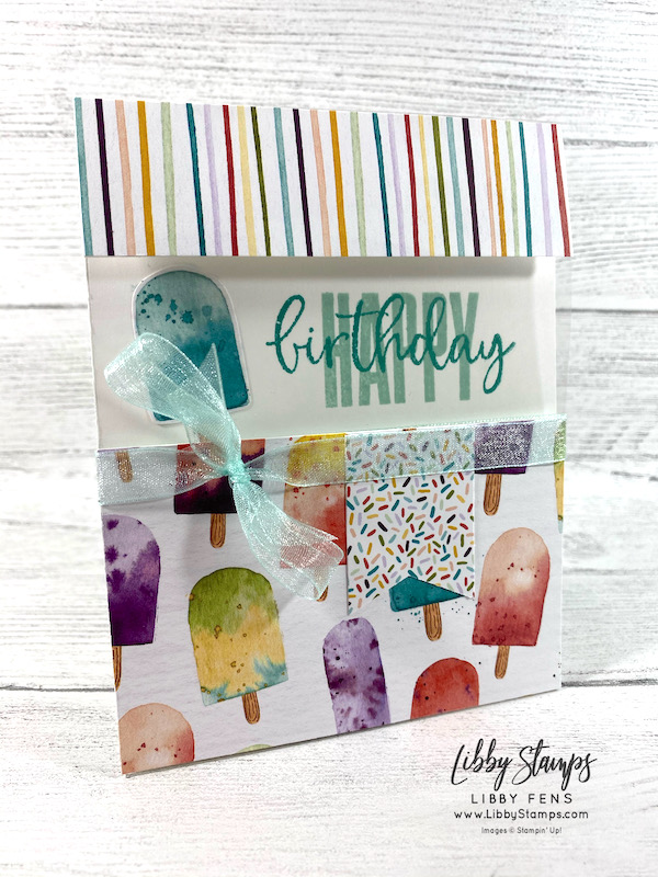 """libbystamps, Stampin' Up, Biggest Wish, Ice Cream Corner DSP, Tailored Tag Punch, Window Sheets, Pool Party 3/8"""" Sheer Ribbon, TSOT, Try Stampin' on Tuesday"""