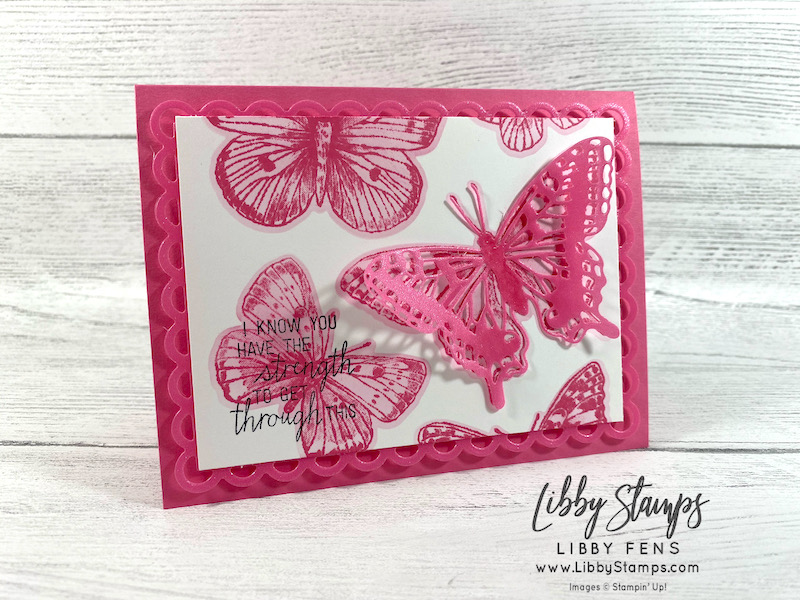 libbystamps, Stampin' Up, Butterfly Brilliance, Butterfly Brilliance Bundle, Queen Anne's Lace, Brilliant Wings Dies, Scallop Contours Dies, Stamparatus, Blending Brushes, We Create, We Create Blog Hop, techniques, 2021-2023 In Colors, 2021-2023 In Color Shimmer Vellum