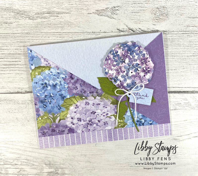 libbystamps, Stampin' Up, Hydrangea Haven, Hydrangea Haven Bundle, Hydrangea Dies, Hydrangea Hill DSP, Snail Mail Twine Combo Pack, Atlantic Hearts Sketch Challenge, AHSC