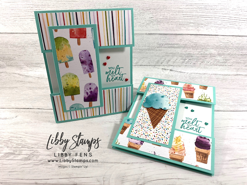 libbystamps, Stampin' Up!, Sweet Ice Cream, Sweet Ice Cream Bundle, Ice Cream Corner DSP, Ice Cream Cone Builder Punch, Resin Hearts, Fun Fold, Fun Fold Fridays, Open Panel Card