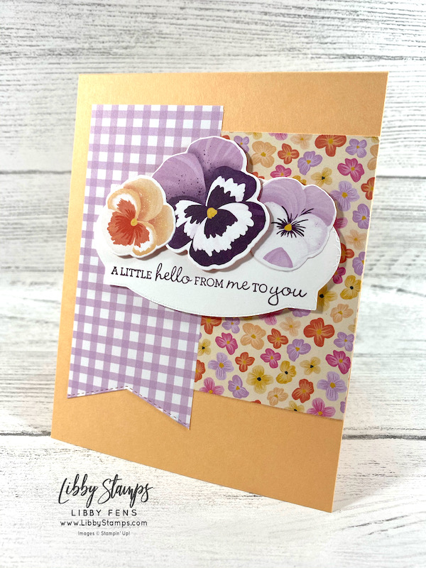 libbystamps, Stampin' Up, Pansy Patch, Pansy Patch Bundle, Pansy Dies, Basic Borders Dies, Hippo & Friends Dies, Pansy Petals Suite, Pansy Petals DSP, TSOT, Try Stampin' on Tuesday