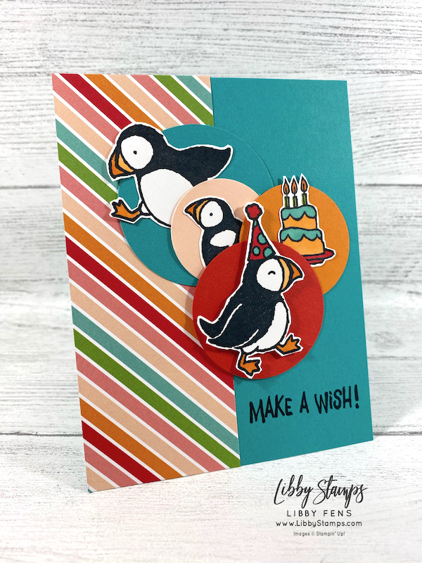 libbystamps, Stampin' Up, Party Puffins, Pattern Party DSP, Stamparatus, AHSC, Atlantic Heart Sketch Challenge