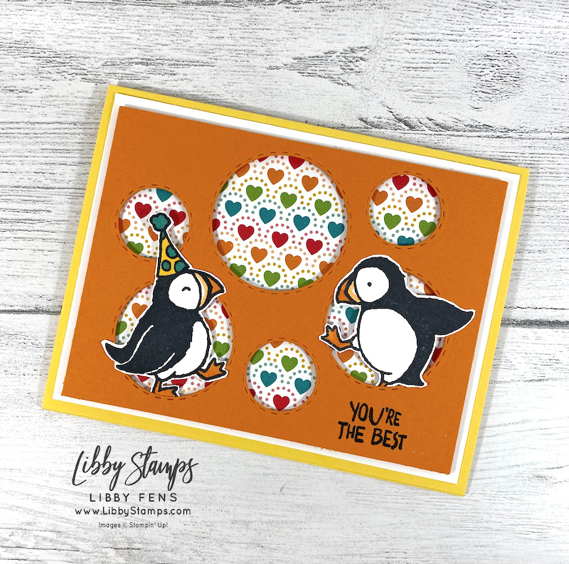 libbystamps, Stampin' Up!, Party Puffins, Picture This Dies, Pattern Party DSP, Stamparatus, Ink Stamp Share Blog Hop