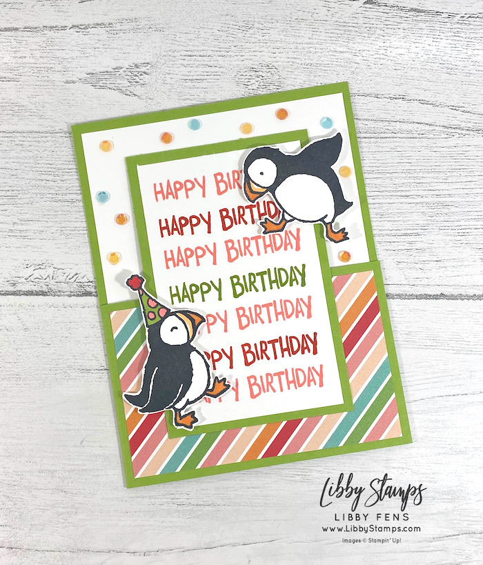 libbystamps, Stampin' Up, Party Puffins, Pattern Party DSP, Stamparatus, Artistry Blooms Sequins, Fun Fold Fridays, Fun Fold