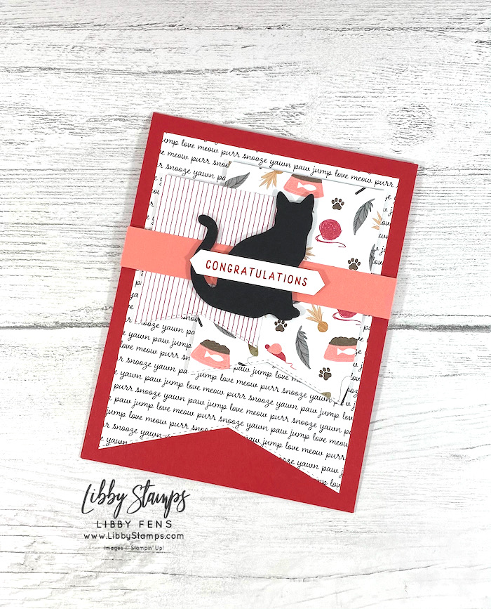 libbystamps, Stampin' Up, Hand-Penned Petals, Basic Borders Dies, Playful Pets DSP, Classic Label Punch, AHSC, Atlantic Hearts Sketch Challenge