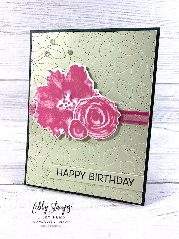 """libbystamps, Stampin' Up, Artistically Inked, Artistically Inked Bundle, Stitched Greenery Die, Artistic Dies, Bloom Hybrid Embossing Folder, Polished Pink 3/8"""" Open Weave Ribbon, Genial Gems, AHSC, Atlantic Hearts Sketch Challenge"""