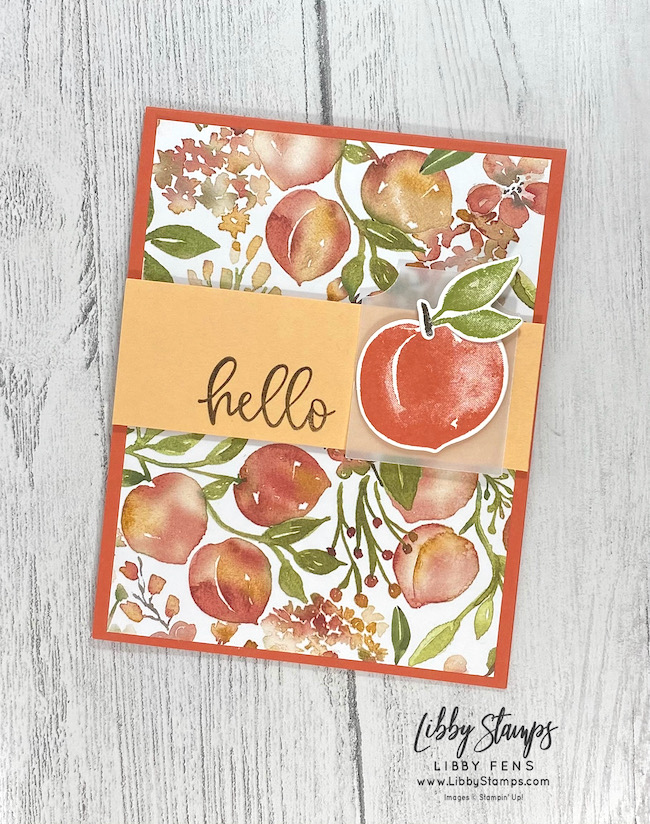 libbystamps, Stampin' Up, Sweet As A Peach, Sweet As A Peach Bundle, Biggest Wish, Peach Dies, You're A Peach DSP, Essential Tag Punch, Early Espresso Stampin' Write Marker, AHSC, Atlantic Hearts Sketch Challenge
