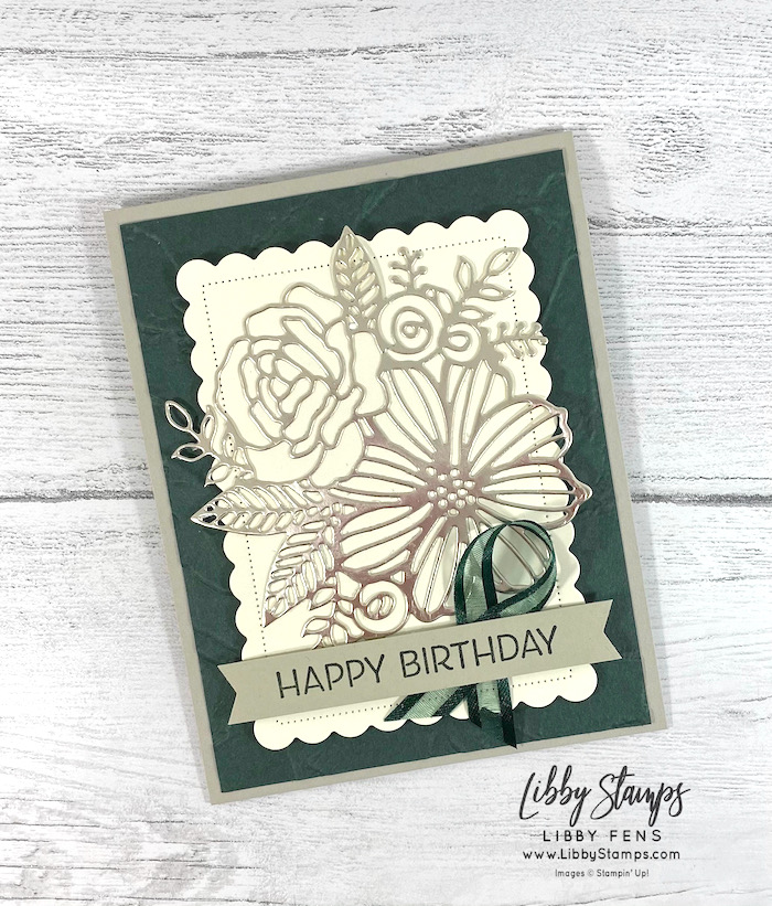"""libbystamps, Stampin' Up!, Artistically Inked, Artistically Inked Bundle, Artistic Dies, Scalloped Contours Dies, Painted Texture 3D EF, Love You Always Foil Sheets, Evening Evergreen 3/8"""" Open Weave Ribbon, CCM, Create with Connie and Mary Saturday Blog Hop, Create with Connie and Mary"""