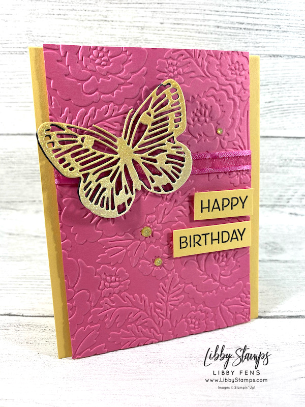 """libbystamps, Stampin' Up, Artistically Inked, Brilliant Wings Dies, Ombre Specialty Paper, Polished Pink 3/8"""" Open Weave Ribbon, Gold Glitter Enamel Dots, CCM, Create with Connie and Mary, Create with Connie and Mary Saturday Blog Hop"""