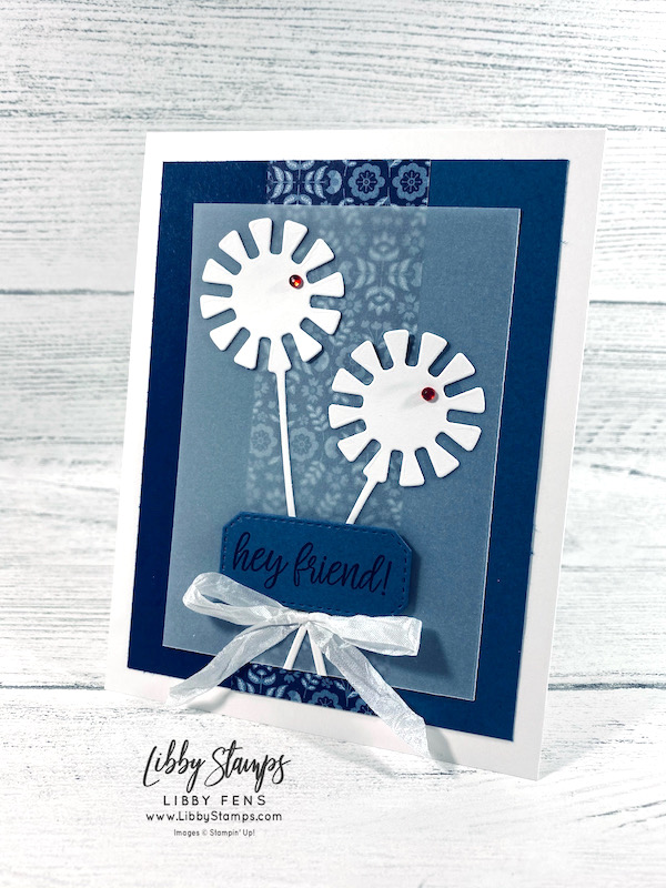 """libbystamps, Stampin' Up, In Symmetry, Dandy Wishes Dies, Hippo & Friends Dies, Sweet Symmetry DSP, Red Rhinestone Basic Jewels, White 1/4"""" Crinkled Seam Binding, CCMC, Create with Connie and Mary Challenges, Create with Connie and Mary"""