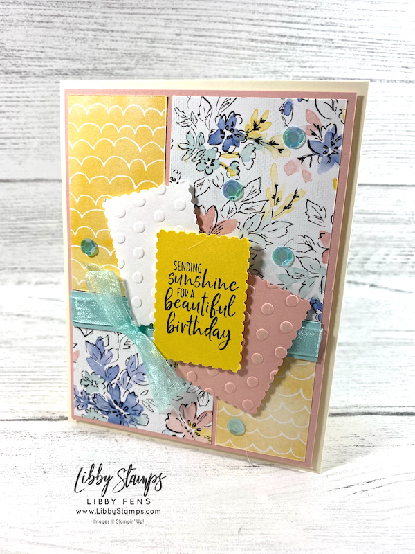 """libbystamps, Stampin' Up, Welcoming Window, Checks & Dots EF, Hand-Penned DSP, Rectangular Postage Stamp Punch, Pool Party 3/8"""" Sheer Ribbon, Artistry Blooms Adhesive-Backed Sequins, CCM, Create with Connie and Mary Saturday Blog Hop, Create with Connie and Mary"""
