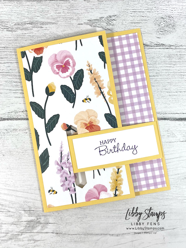 libbystamps, Stampin' Up, Pansy Patch, Pansy Petals DSP, Classic LabelPunch, Fun Fold, Ful Fold Fridays, Latch Card