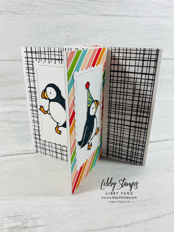 libbystamps, Stampin' Up, Party Puffins, Scalloped Contours Dies, Pattern Party DSP, Stampin' Blends, BFBH, Blogging Friends Blog Hop, Fun Fold, Fun Fold Fridays, Pinwheel Tower Card
