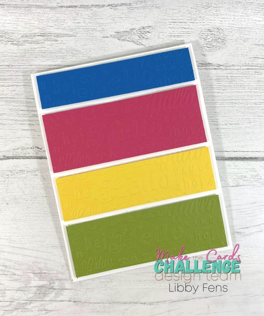 libbystamps, Stampin' Up, Thanks & Hello EF, Mini Stampin' Cut & Emboss, Make The Cards Challenge, MTCC, clean & simple