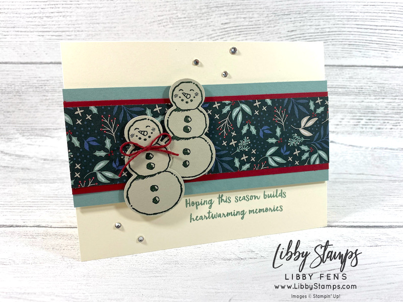 """libbystamps, Stampin' Up, Snowman Season, Tidings of Christmas DSP, Snowman Builder Punch, 6"""" x 6"""" One Sheet Wonder, Stamping INKspirations, Stamping INKspirations Blog Hop"""