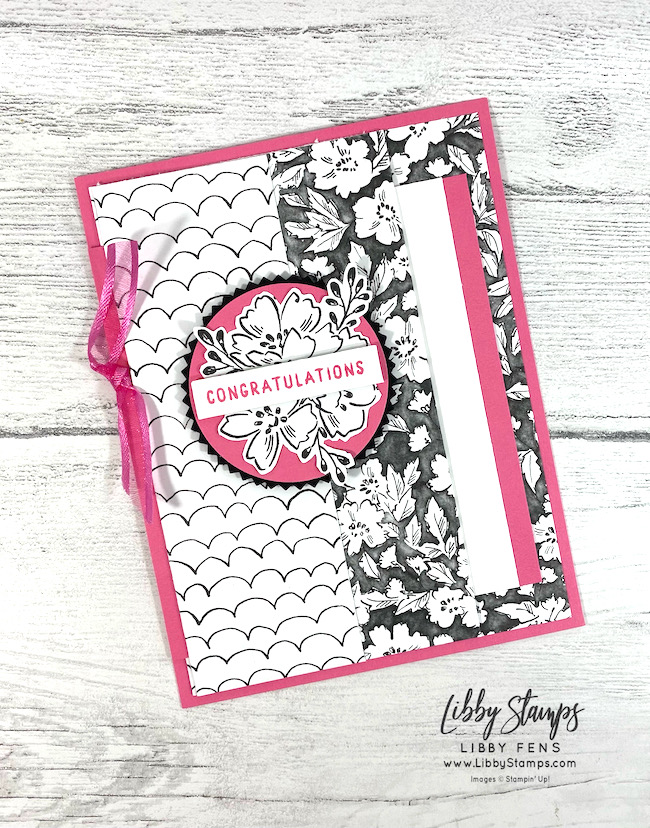 """Hand-Penned Petals, Beautifully Penned DSP, Detailed Trio Punch, Polished Pink 3/8"""" Open Weave Ribbon, Fun Fold Fridays, Fun Fold, Double Pocket Card, SAB, Fall Sale-a-bration 2021, Sale-A-Bration, Sale-a-bration 2021, Saleabration, libbystamps, Stampin' Up"""