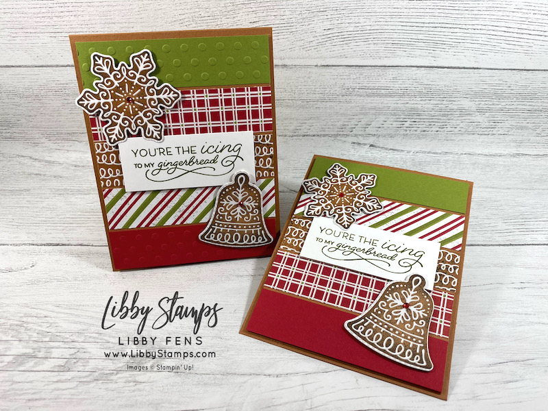 libbystamps, Stampin' Up. Frosted Gingerbread, Frosted Gingerbread Bundle, Gingerbread Dies, Checks & Dots Embossing Folder, Gingerbread & Peppermint Suite, Gingerbread & Peppermint DSP, Red Rhinestone Basic Jewels, CCM, Create with Connie and Mary, Create with Connie and Mary Saturday Blog Hop