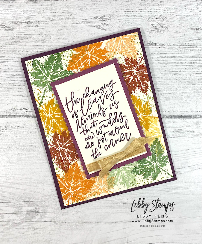 """libbystamps, Stampin' Up, Gorgeous Leaves, Beauty of The Season, Stitched So Sweetly Dies, Gold 1/4"""" Shimmer Ribbon, CCM, Create with Connie and Mary, Create with Connie and Mary Saturday Blog Hop"""