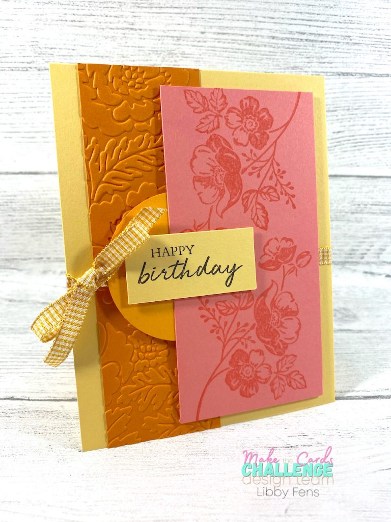 """libbystamps, Stampin. Up, Shaded Summer, Pretty Flowers EF, Bumble 1/4"""" Gingham Ribbon, Make The Cards Challenge, J-D Mini Catalog"""