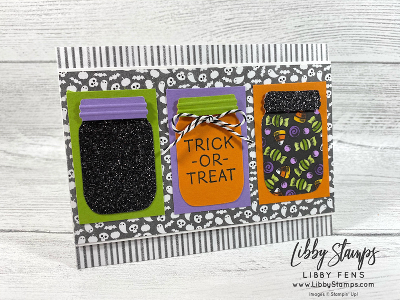 libbystamps, Stampin' Up, Little Delights, Cute Halloween DSP, Jar Punch, Playful Pets Trim Combo Pack, Black Glitter Paper, CCM, Create with Connie and Mary, Create with Connie and Mary Saturday Blog Hop