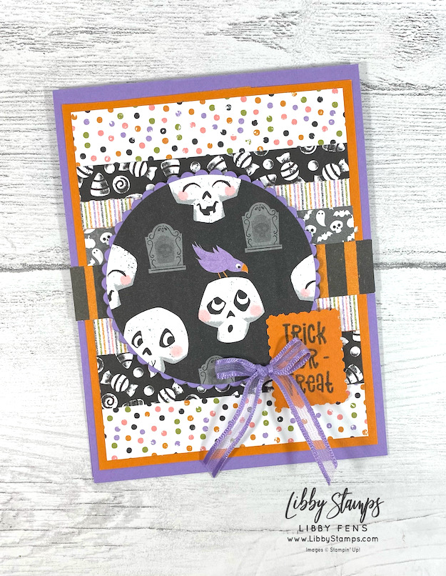 libbystamps, Stampin' Up, Cutest Halloween, Layering Circles Dies, Cute Halloween DSP, Rectangular Postage Stamp Punch, TSOT, Try Stampin' on Tuesday, Halloween