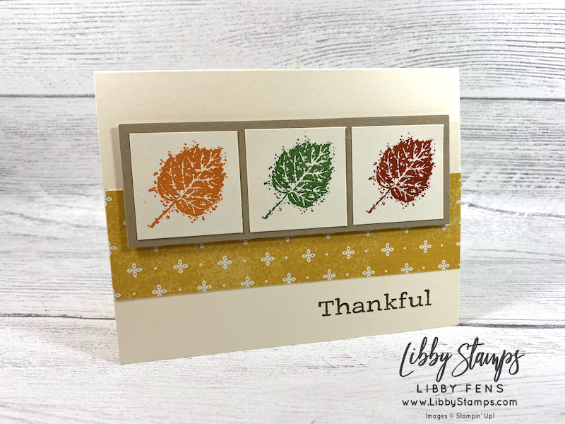 libbystamps, Stampin' Up, Gorgeous Leaves, Time of Giving, Harvest Meadow DSP, TSOT, Try Stampin' on Tuesday, Fall Card