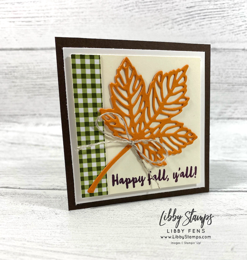 libbystamps, Stampin' Up, Banner Year, Intricate Leaves Dies, Heartwarming Hugs DSP, Linen Thread, Crafty Collaborations, Fall, 3x3 SWAP