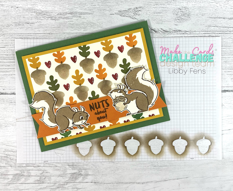 libbystamps, Stampin' Up, Nuts About Squirrels, Banner Year, Autumn Punch Pack, Sponge Daubers, Fall Card, MTCC, Make The Cards Challenge, stencil