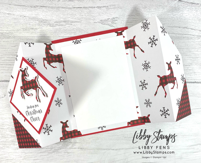 libbystamps, Stampin' Up, Words of Cheer, Peaceful Prints DSP, Deer Builder Punch, Gate Fold, Double Gate Fold Card, Fun Fold, Fun Fold Fridays, SAB, Fall Sale-a-bration 2021, Sale-A-Bration, Sale-a-bration 2021