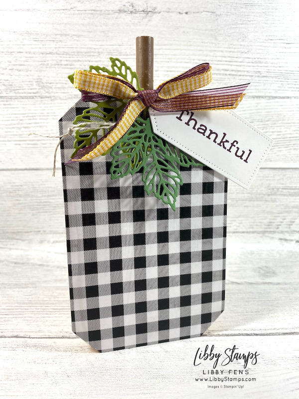 """libbystamps, Stampin' Up, Time of Giving, Intricate Leaves Dies, Tailor Made Tags Dies, Pattern Party DSP, Bumblebee 1/4"""" Gingham Ribbon, Blackberry Sheer Ribbon, Linen Thread, Ink Stamp Share, Ink Stamp Share Blog Hop"""