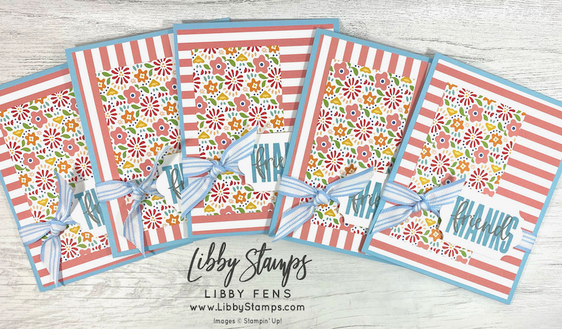 libbystamps, Stampin' Up, Biggest Wish, Pattern Party DSP, Everyday Label Punch, Ink Stamp Share, Ink Stamp Share Blog Hop, Thank You cards