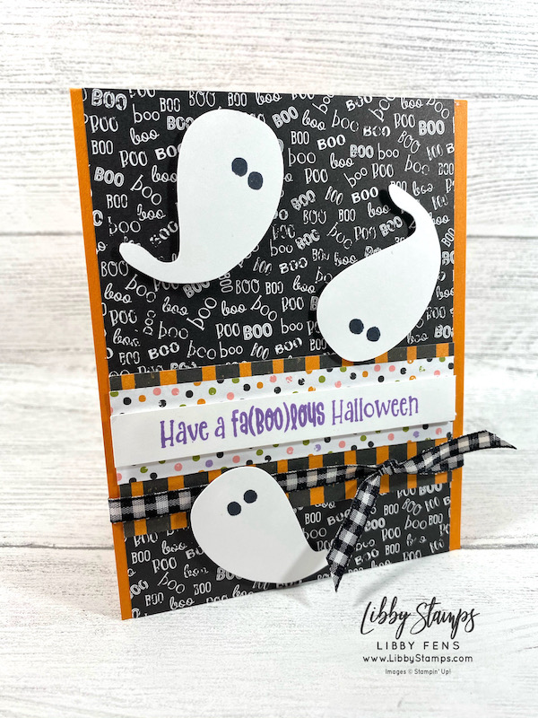 """libbystamps, Stampin' Up, Cutest Halloween, Cute Halloween DSP, Whale Punch, Black & White 1/4"""" Gingham Ribbon, CCMC, Create with Connie and Mary, Create with Connie and Mary Saturday Blog Hop"""