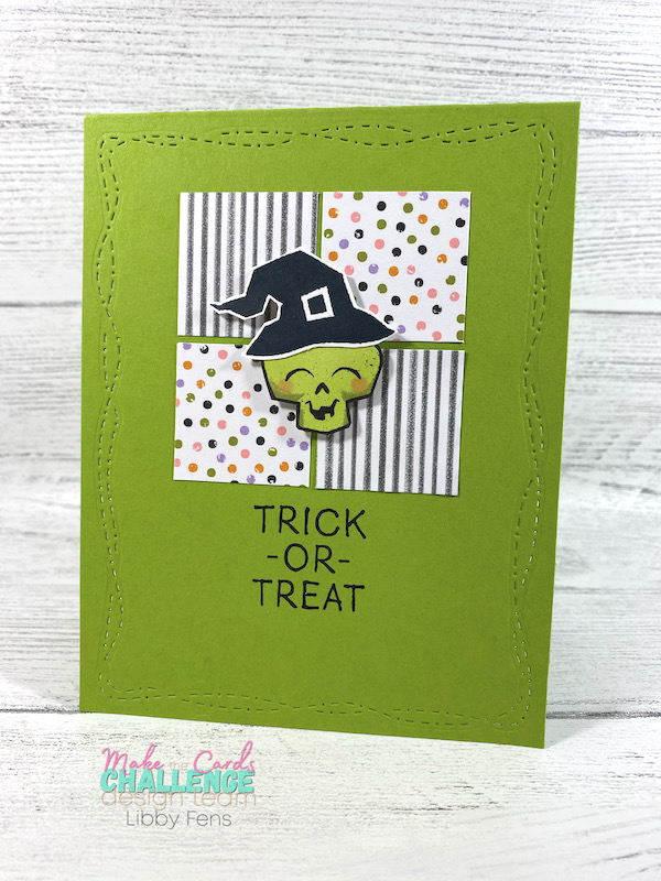 libbystamps, Stampin' Up, Clever Cats, Little Delights, Stitched With Whimsy Dies, Cute Halloween DSP, Stamparatus, MTCC, Make The Cards Challenge, Halloween card