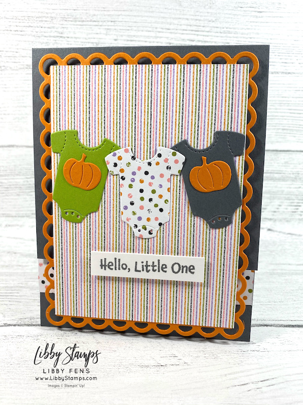 libbystamps, Stampin' Up, All For Baby, All For Baby Bundle, Baby Clothes, Scalloped Contours Dies, Seasonal Swirls Dies, Cute Halloween, TSOT, Try Stampin' on Tuesday