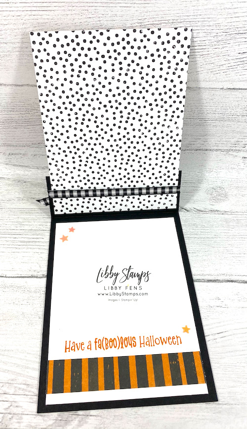 """libbystamps, Stampin' Up, Cutest Halloween, Cute Halloween Bundle, Cutest Halloween Suite, Cute Halloween DSP, Halloween Punch, Cute Stars Adhesive Backed Sequins, Black & White 1/4"""" Gingham Ribbon, Halloween Card, Fun Fold Fridays, Fun Fold"""