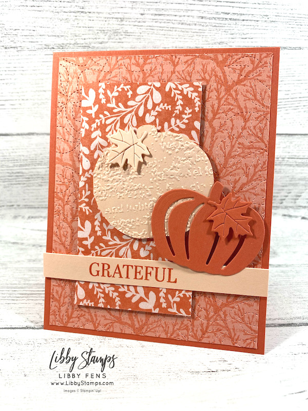 libbystamps, Stampin' Up, Sparkle Of The Season, Detailed Pumpkins Dies, Stitched Greenery Die, Giving Gifts Dies, Harvest Meadow DSP, Stamping INKspirations, Stamping INKspirations Blog Hop, Fall Card