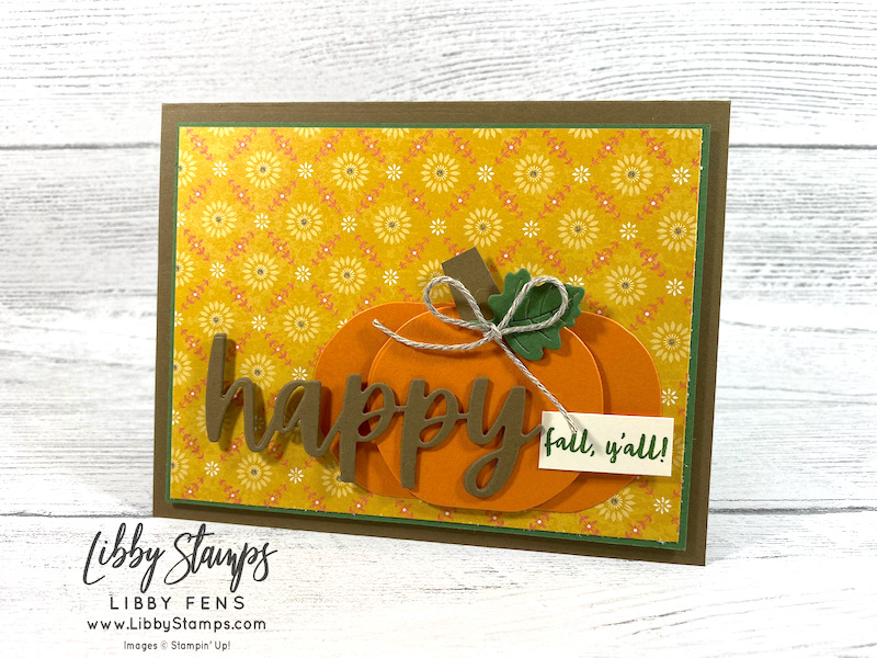 libbystamps, Stampin' Up, Banner Year, Detailed Pumpkins Dies, Christmas Cheer Dies, Gift Giving Dies, Harvest Meadow DSP, Fall Card, TSOT, Try Stampin' on Tuesday