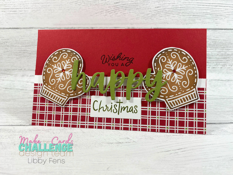 libbystamps, Stampin' Up, Frosted Gingerbread, Snowman Season, Christmas Cheer Dies, Gingerbread & Peppermint DSP, Red Rhinestone Basic Jewels, mini slim card, MTCC, Make The Cards Challenge