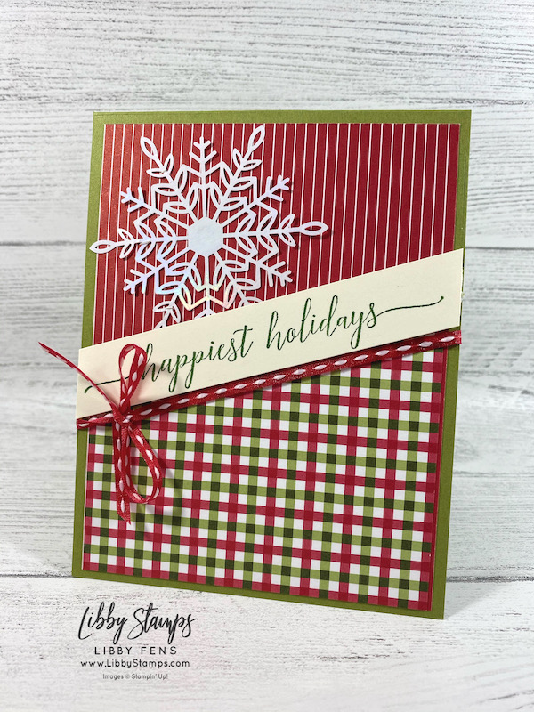 libbystamps, Stampin' Up, Heartfelt Wishes, Heartwarming Hugs DSP, Wonderful Snowflakes, Playful Pets Trim Combo Pack, Stamping With Friends Blog Hop, Christmas Card