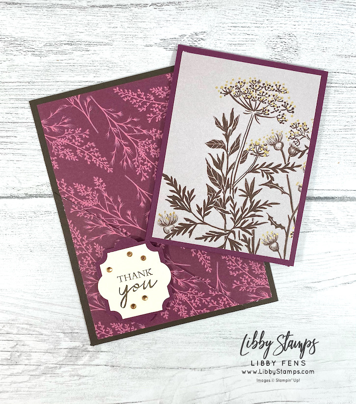 libbystamps, Stampin' Up, Shaded Summer, Blackberry Beauty DSP, Everyday Label Punch, Champagne Basic Rhinestone Jewels, Fun Fold Friday, Fun Fold Fridays