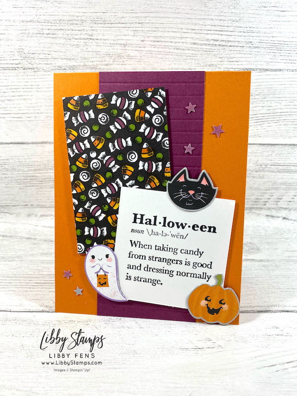 libbystamps, Stampin' Up, Well Defined, Cute Halloween DSP, Halloween Punch, Stamparatus, Stampin' Blends, Cute Stars Adhesive Backed Sequins, We Create, We Create Blog Hop